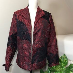 Red and Black Blazer Dress Jacket Coat Medium